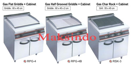 mesin gas open burner griddle cabinet