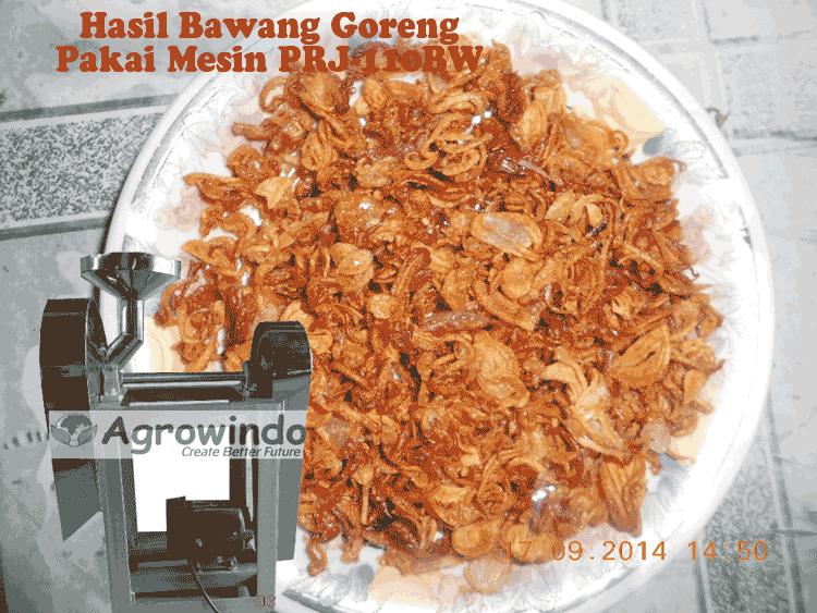 bawang goreng hasil irisan dengan menggunakan mesin agrowindo