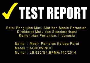 TEST REPORT MESIN PEMERAS KELAPA PARUT