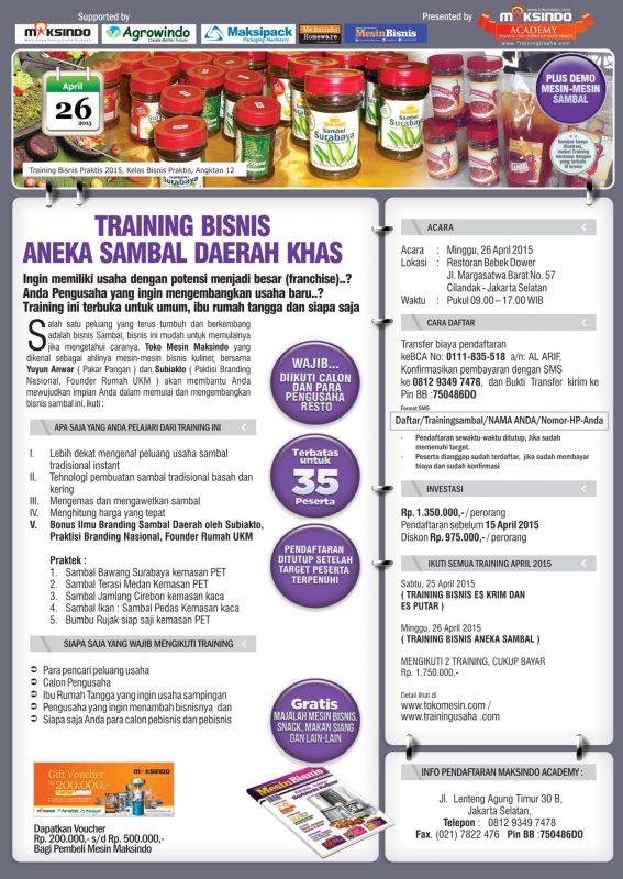 training bisnis sambal khas daerah