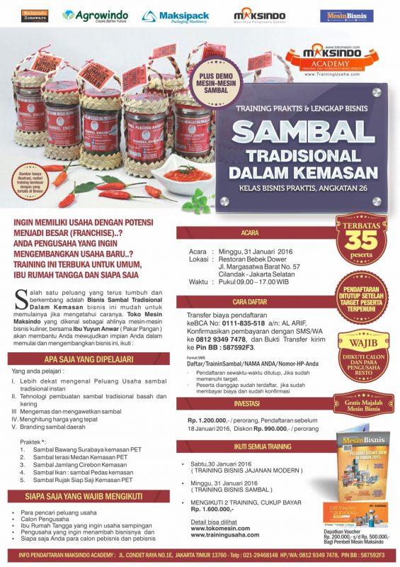 Bisnis sambal Tradisional dalam kemasan
