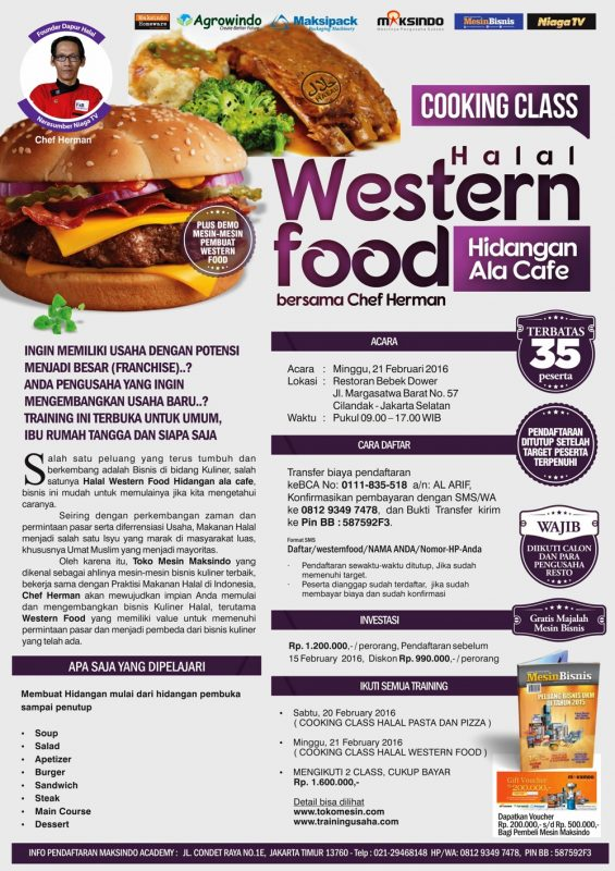 training halal western food maksindo