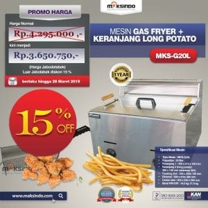 Mesin Gas Fryer MKS-G20L + Keranjang Long Potato