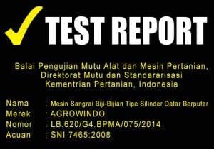 TEST REPORT MESIN SANGRAI BIJI-BIJIAN