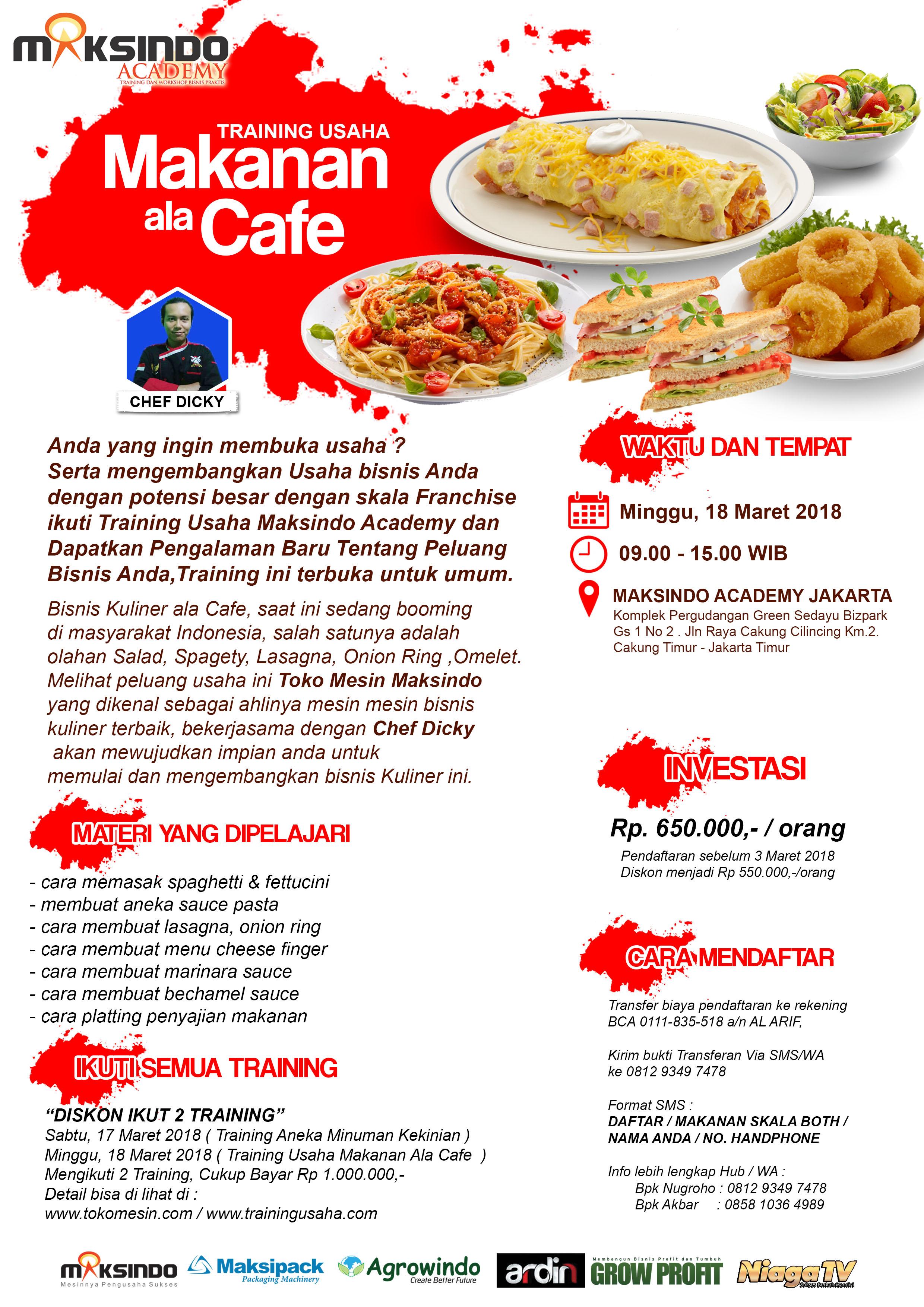 Training Usaha Makanan Ala Cafe 18 Maret 2018 Toko Mesin Maksindo