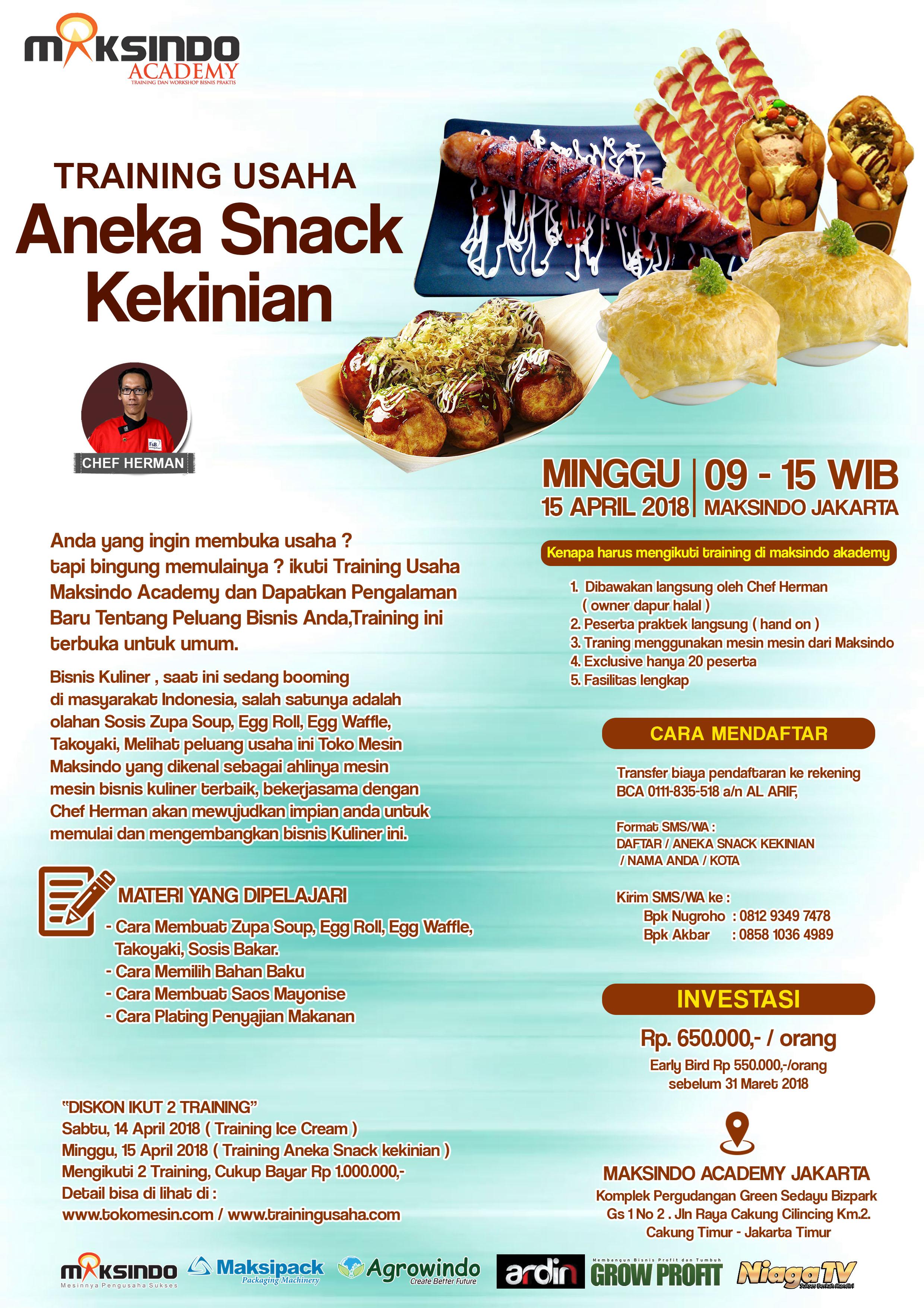 Training Usaha Aneka Snack Kekinian 15 April 2018 Toko Mesin