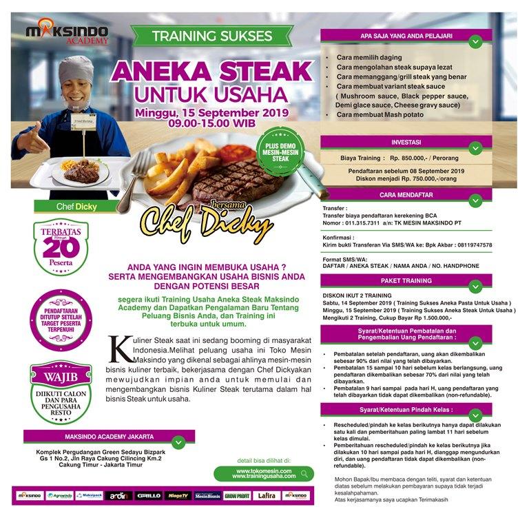 Training Sukses Aneka Steak Untuk Usaha Minggu 15 September 2019